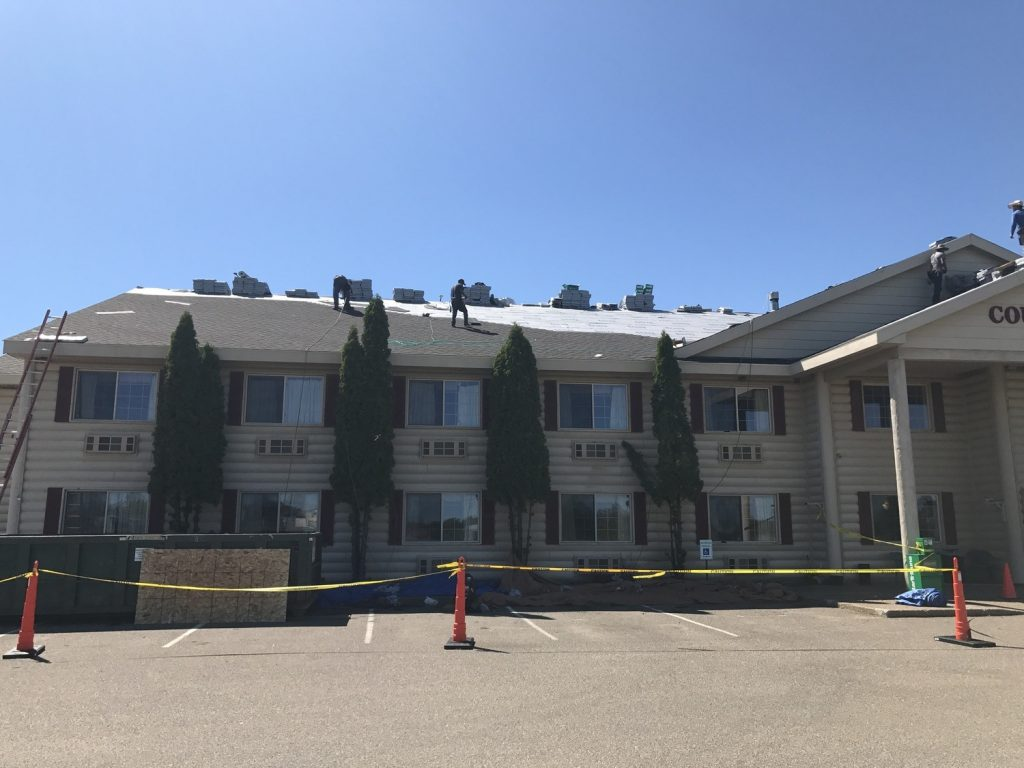 Commercial roofing project recently completed. Hotel chain, tear off and replace